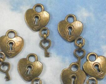 30 Heart Lock & Key Charms Antique Bronze Tone Set - Wedding Invitations, Scrapbooks (P1186 -30)