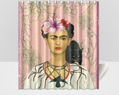 Frida Kahlo and Black Cat  Pink Shower Curtain