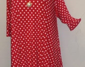 Plus Size Tunic Coco and Juan Plus Size Asymmetric Tunic Top Red and White Dots Traveler Knit Size 1 (fits 1X,2X)   Bust 50 inches
