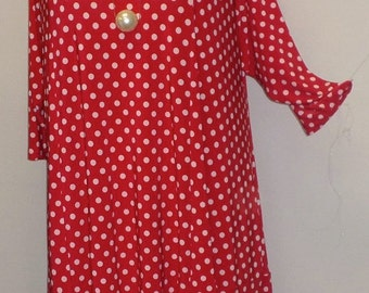 Plus Size Tunic, Coco and Juan Missy Plus Size Top Asymmetric Tunic Top Red and White Dots Traveler Knit Size XL (fits 14,16) Bust 46 inches