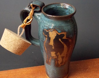 Stoneware Travel Mug With Cork ~ Cow Design ~