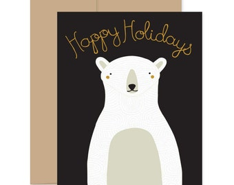 Polar Bear Christmas Card, Holiday Card, Polar Bear Holiday Card, Happy Holiday Card, Happy Holidays, White Bear Card, Christmas Bear Card