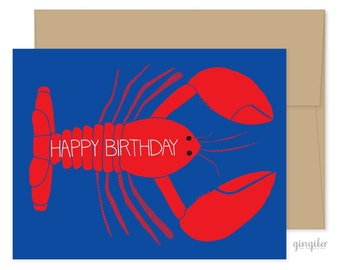Lobster Birthday Card, Nautical Celebrations, Crustacean Card, Sea Birthday Card, Special Occasion Card
