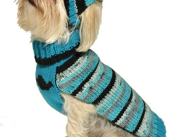 Dog Sweater with Knit Hat Mustache Sizes XXS to Large