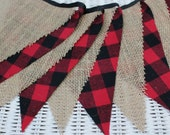 Free USA Shipping/Lumberjack Fabric Banner/Red Black and Burlap Fabric Banner/LumberJack First Birthday Banner/Lumber Jack Banner/Camping