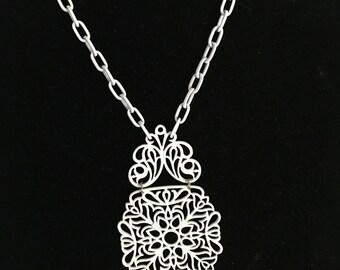 Vintage Trifari Large White Enamel Pendant Necklace