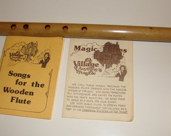 Vintage Wooden six-holed, side-blown Renaissance Transverse Bamboo Flute with song book - 1980s