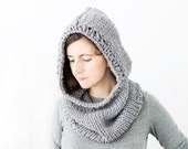 Chunky Hooded Cowl, Hand Knit Neckwarmer, Circle Scarf - Trails Cowl
