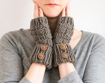 Knitted Fingerless Mittens, Textured Wool Winter Gloves, Cuffed with Buttons - Pinesap Mittens