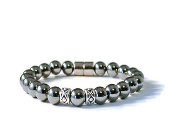 Men's Black and Silver Magnetic Hematite Bracelet, Arthritis Jewelry for Pain