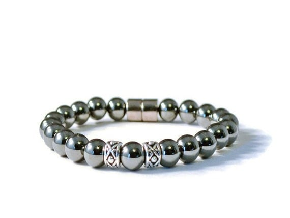 Men's Black and Silver Magnetic Hematite Bracelet, Arthritis Jewelry for Pain