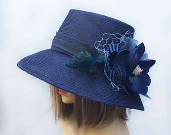 "Kentucky Derby, ""Ingrid"",  straw millinery hat, womens hand made cloche,  Navy straw hat"