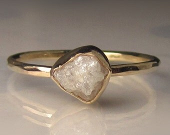 Raw Diamond Engagement Ring, White Raw Diamond Ring,  Hammered 14k Yellow Gold Rough Diamond Ring - 1 Carat