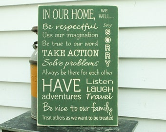 CREATE YOUR OWN Custom House Rules Family Rules Carved Wood Subway Sign with Header - 16x24 Handpainted Carved Rustic Wooden Rules Sign