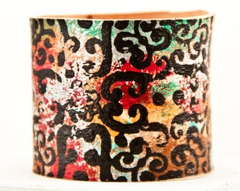 Gypsy Jewelry Cuffs Handmade From Leather Boho Tattoo Cover Bracelet