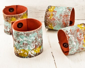 Leather Cuff Jewelry Bracelet Wristband Wrist Cuffs - Summer Trends Colorful Painted Leather Jewelry -