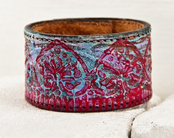 Leather Jewelry Cuffs Bracelets Wristbands - 2016, Tooled Leather, Embossed, Stamped, Carved, Leathercraft, Vintage Leather