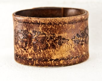 Western Jewelry - Tooled Leather Vintage Cuff Bracelet - Leathercraft, Stamped, Embossed, Carved, Etched, Summer Trends