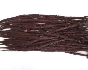 28 Darkest Auburn synthetic dreads. Synthetic dreads, dreadlocks, dreads, synthetic dreadlocks, dreadlock extensions, long thin single ended