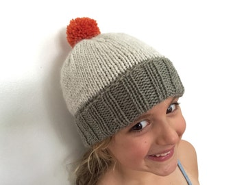 Colourblock Pom-Pom Beanie - Warm Wool Hat for Kids - size 5-10 - khaki / ivory / orange