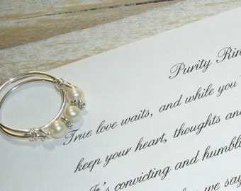 Purity Ring, with Inspirational Card, Pearl Band, Sterling Silver