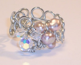 Pearl Ring, Antique Pink Freshwater Pearls, Swarovski Crystals, Sterling Silver