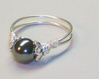 Hematite Bead  Ring, Healing Stone,  Sterling Silver