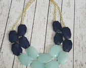 Navy Blue and Pale Aqua  Chunky Statement Bib Necklace...Purchase 3 or more get 10% off