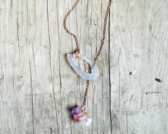 Geode amethyst lariat necklace copper chain wire wrapped boho