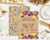 SALE. Printable Custom Rainbow Confetti Birthday Invitation, thank you & print. Confetti Dots Birthday Invite. Sprinkle Birthday Invite.