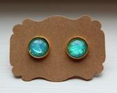 Blue Fire Opal Earrings, Opal Earrings, Stud Earrings, Gold Post, Resin Fire Opal Post, Gold Opal Earrings, Post Stud Earrings, Opal Jewelry