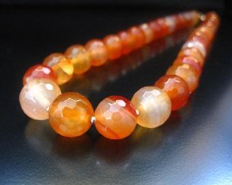 Faceted Carnelian Necklace, Carnelian Necklace, Natural Carnelian, Gold Filled Beads, Carnelian Gold, Carnelian Jewelry, 12mm Carnelian