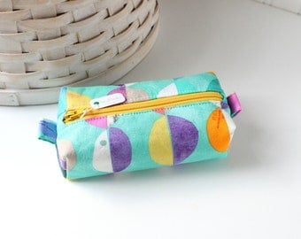 Colorful Small Boxy Pouch Modern Coin Purse Teal Change Purse Credit Card Holder