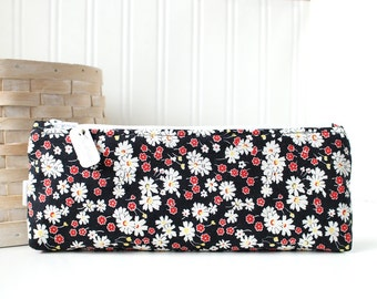 Floral Pencil Pouch Floral Pencil Case Red Black and White Floral Purse Organizer