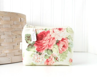 Pink Floral Coin Purse Gift Card Credit Card Holder Floral Zipper Pouch Floral Change Purse