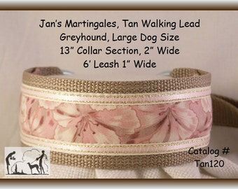 Jan's Martingales,  Tan Walking Lead, Collar and Lead Combination, Greyhound, Large Dog Size,  Tan120
