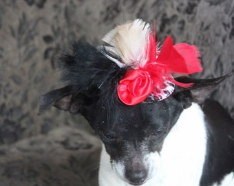 Cute  mini leopard print  hat with     flowers and  feather  for dog or cat