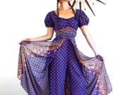 SALE 50% OFF Onepiece/ Vintage 70s Kaftan/ Indian Romper/ Hippie Jumpsuit/ Boho Chic/ Harem Pants/ Blue Cotton Paisley Print / 1970s