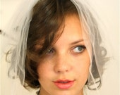 SALE 50% OFF Vintage 60s Wedding Veil MAD Men Bridal White Tulle Double Netting Short Shoulder Length Comb Puffy Bubble 1960s Veil