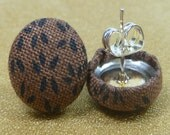 Black Leaves on Brown Fabric Button Earrings