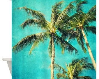 Palm trees Shower Curtain,tropical,aqua home decor,fabric,turquoise,green,landscape,nature