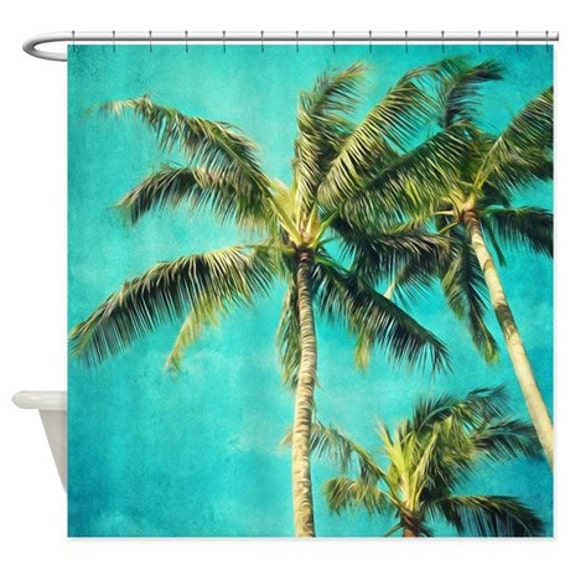 Palm Trees Shower Curtain Tropical Aqua Home Decor Fabric Turquoise Green