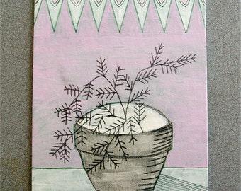 Fern on Pink // Original Acrylic Painting // 8X10