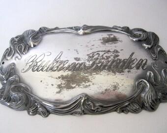 "Vintage German Coffin Plaque, Memorial Cemetery Casket Plate Metal, Rest in Peace ""Ruhe in Frieden"" Grave Mourning Plaque"