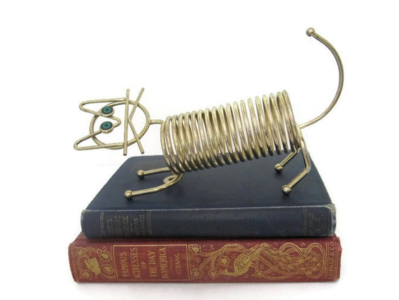 Vintage Mod Cat Wire Spiral Letter Rack, Mail Bill Holder Mid Century Modern Kitty Cat