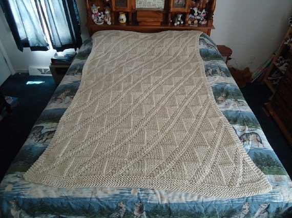 Off White Hand Knitted Diagonals and Triangles Afghan, Blanket, Throw - Home Decor