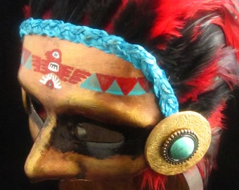 OOAK Aztec Warrior Mask, Traditional Thunderbird Warrior with Red and Black Feather Headdress