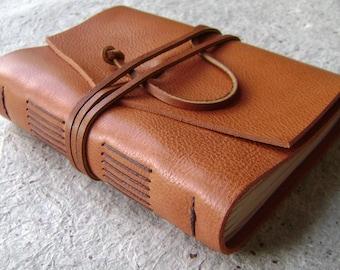 "Leather journal, rustic orange, 4"" x 6"", handmade journal by Dancing Grey Studio(2079)"