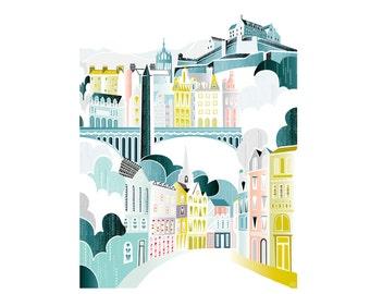 Edinburgh Print, Paper Art Print, Edinburgh Skyline Castle, Cityscape Illustration, Home decor, kids, nursery, bedroom, Kitchen , SPPE1