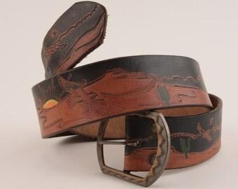 Vintage Tooled Leather Belt Southwestern Desert Scene Cactus Birds Sunset Two-toned